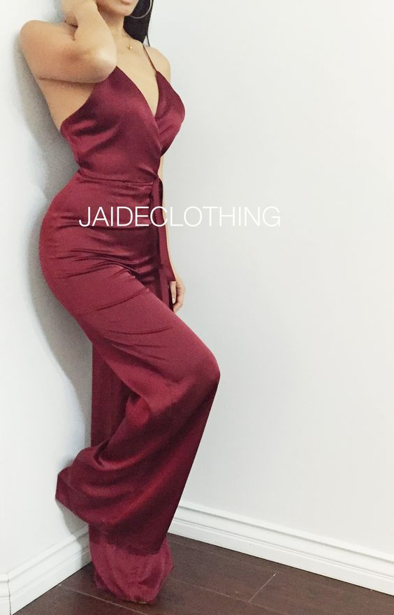 Jaide clothing| Deep Red With Love Silk Jumpsuit