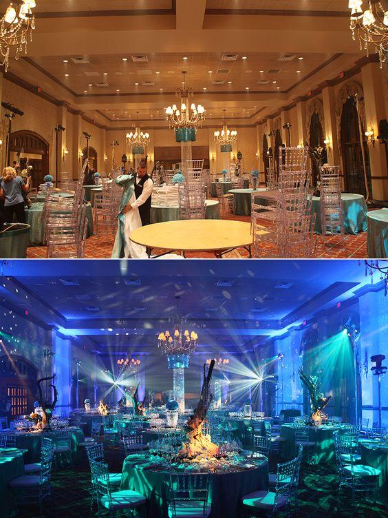 Water themed event #beforeandafter #ballroom #keventlighting