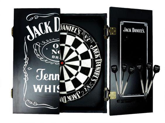 Details About Jack Daniels Dartboard Cabinet Set With