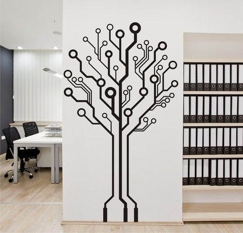 Circuit Board Tree Vinyl Wall Art Graphic Stickers