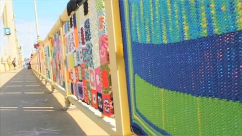 Knit the Bridge:  A Pittsburgh art project that has draped the Warhol Bridge with 600 colorful blankets