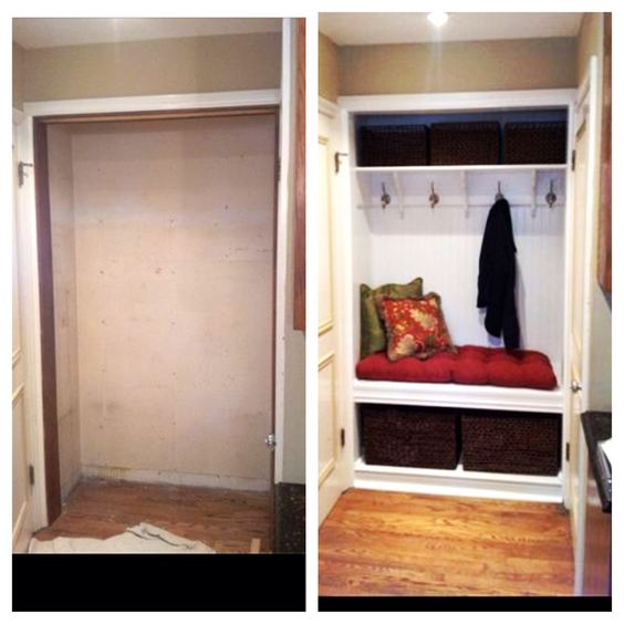 Closet turned into bench and coat hooks. Seems much more functional! http://jdsremodelinginc.com