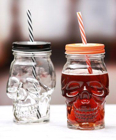 Love this Black & Orange 16-Oz. Skull Mason Jar - Set of Twelve on #zulily…