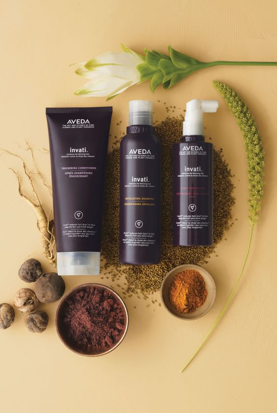 Aveda's Invati System - 97% naturally derived* invati™ solutions for thinning hair. Reduce hair loss by 33%** to keep the hair you have longer. For best results, use the 3-step system. http://www.aveda.com/ShopAveda.tmpl?SalonID=26791