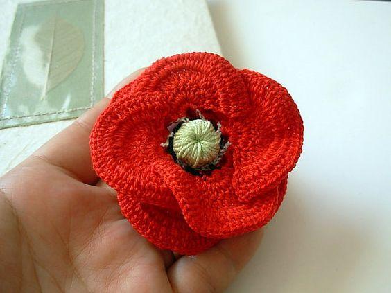 Free Crochet Pattern For Poppy Flower : Crochet red 3d poppy flower Brooch Pin Cotton Floral ...