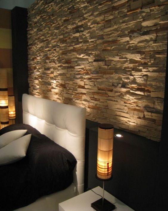 Camera letto parete pietra cerca con google progetti da provare pinterest search google - Rivestimento parete camera da letto ...