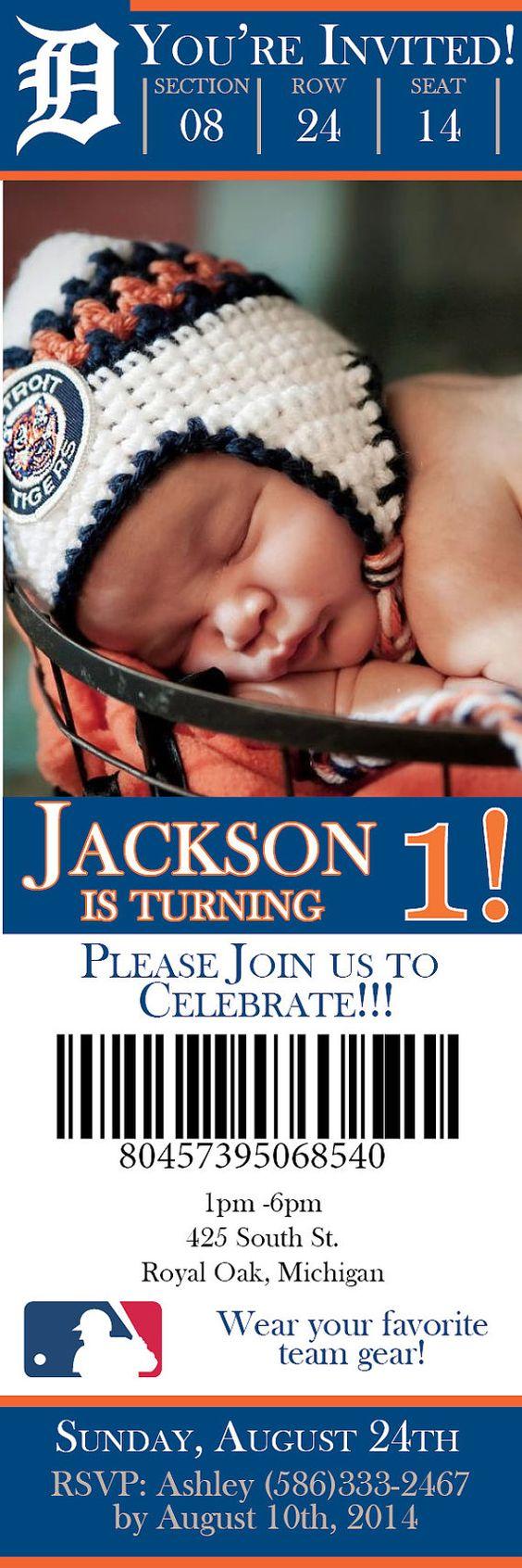 Detroit Tigers Ticket Birthday Invite by MyPrintsCharmingInk