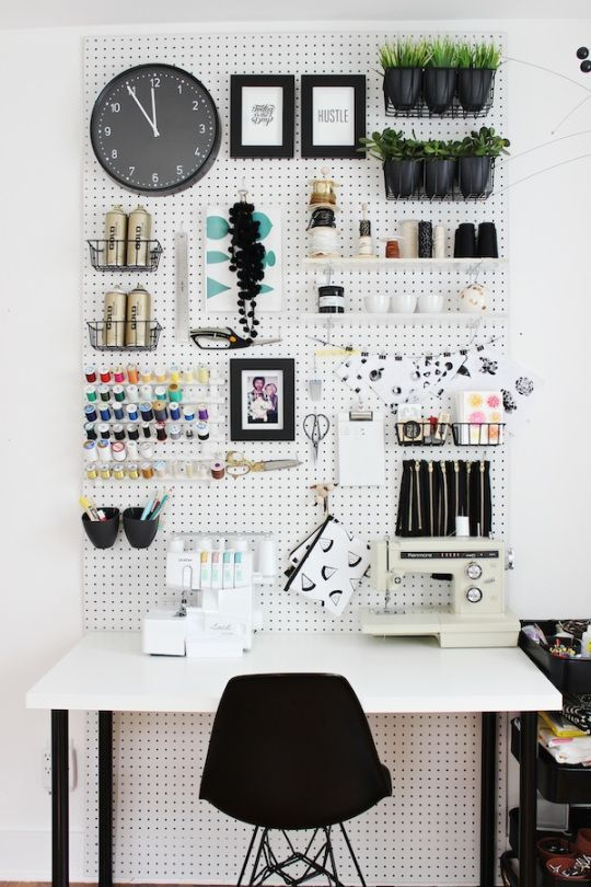 Cool organized and sleek pegboard could be an option