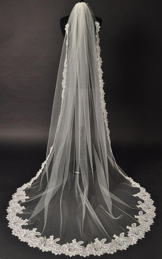 Cathedral Lace Veil Alencon lace bridal by CoutureBrideBoutique, $225.00