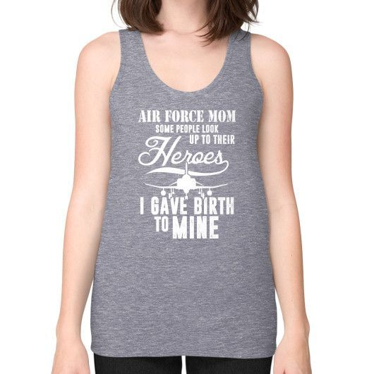 AIR FORCE MOM HEROES Unisex Fine Jersey Tank (on woman)