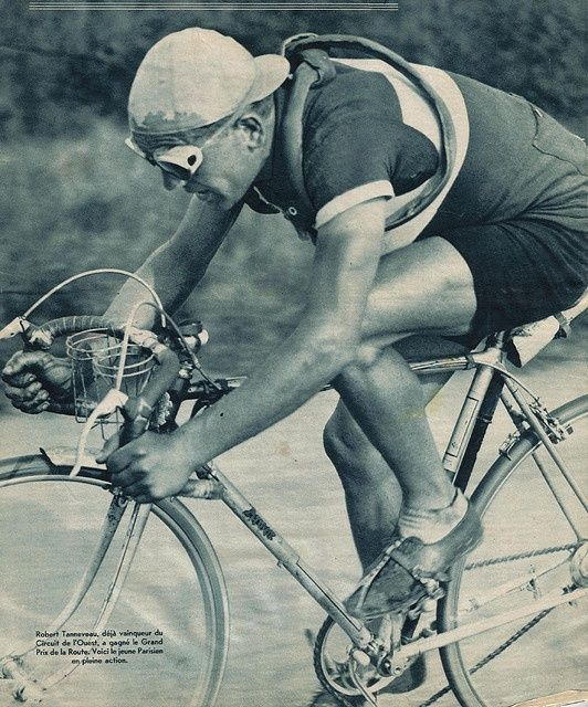 Robert Tanneveau, with a flint catcher visible just forward of his rear brake.