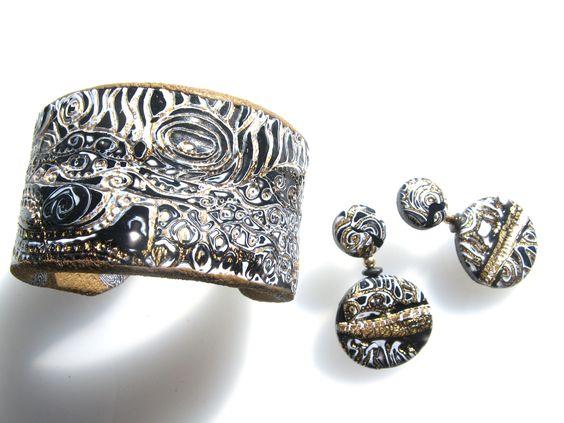 Debbie Carlton's mokume gane cuff and earrings