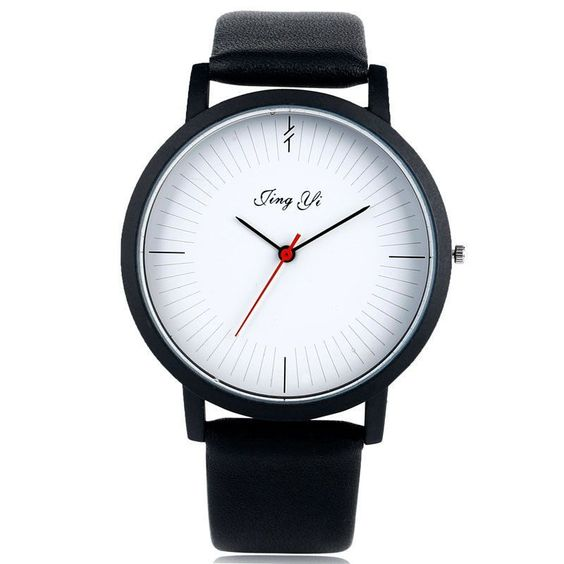 Fashion Round Analog Quartz Black/White Leather Strap Men Women Wrist Watch Gift