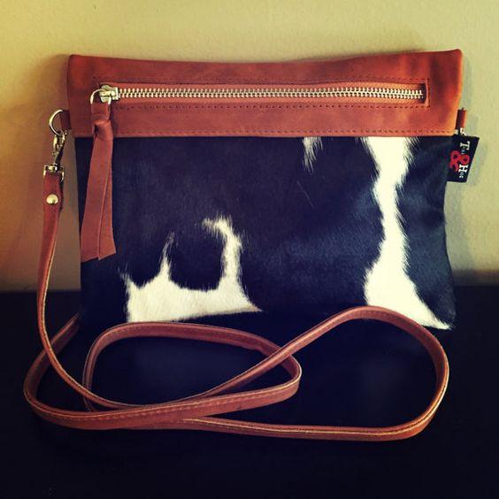 NEW-Cow Hide Sable Clutch Cross Body Bag.This by TanaandHide