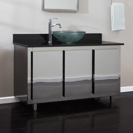 Stainless steel bathroom vanity bathroom vanities vessel sink vanities 48 landen Stainless steel bathroom vanities