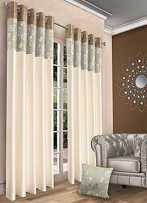 Luxury Faux silk eyelet curtains Ready Made Fully lined Eyelet Top Pair