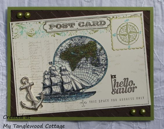 Open Sea Postcard signeSupplies (Stampin' Up!)  Stamps: The Open Sea; Post Card; Hello, Sailor (retired) Ink: Black – Memento; Sahara Sands; Old Olive; Early Espresso; Coastal Cabana Re-inkers: Old Olive; Coastal Cabana Marker: Early Espresso Paper: Very Vanilla; Old Olive; Early Espresso Blendabilities: Coastal Cabana Assortment; Old Olive Assortment Accessories: Postage Stamp Punch; Chevron Embossing Folder; Big Shot; Pearls; Stampin' Dimensionals; Sponge; Baby Wipes (non-Stampin' Up!) d