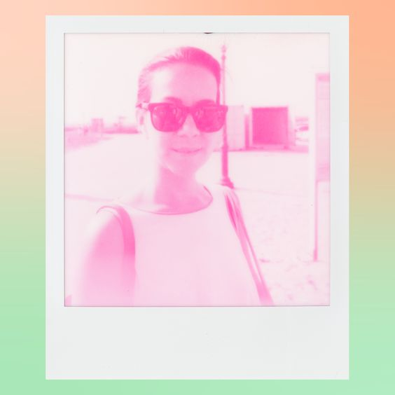 Magenta monochrome instant film portrait of #thelovelywife, 2015.