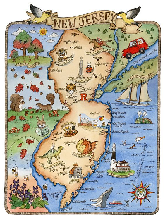 New Jersey State Map Art Print 8 x 10 by SepiaLepus on Etsy