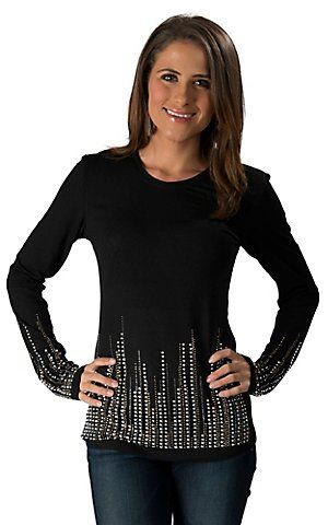 Wired Heart Women's Black with Rhinestones and Studs Long Sleeve Fashion Knit Top | Cavender's