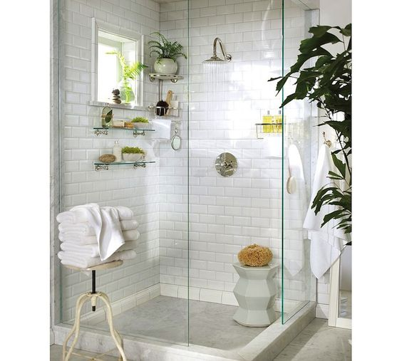 Bathrooms With White Tile Showers: Tropical Bath. Subway Tile + Glass Shelving + Window
