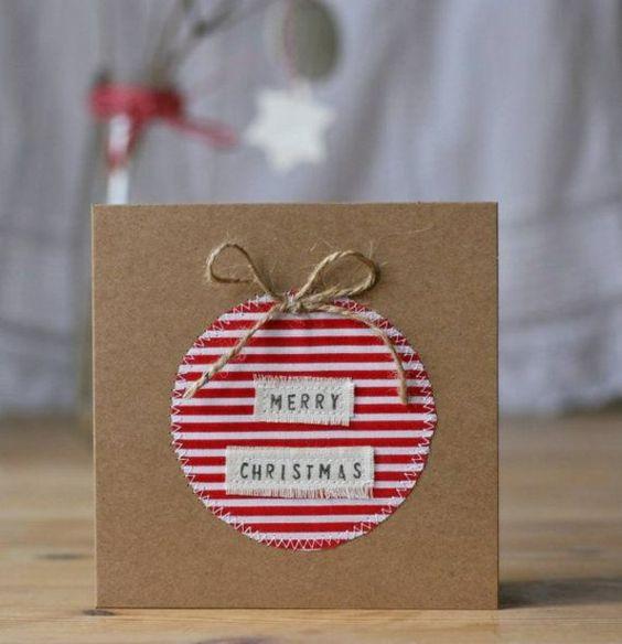 Weihnachtskarten basteln mit papier und stoff karte f r for Weihnachtskarten pinterest