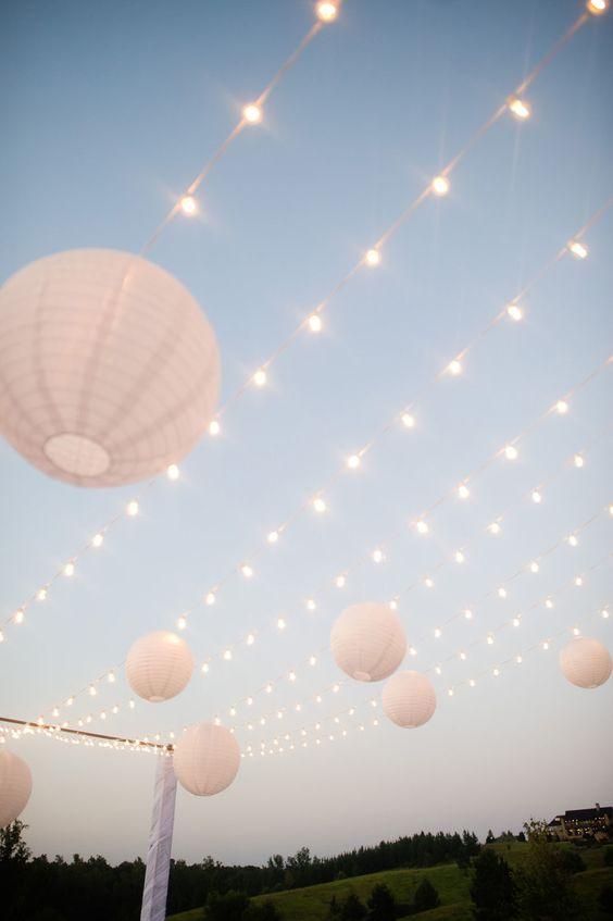 Easy wedding reception or party lights = paper lanterns + globe lights
