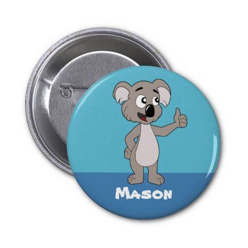 Button with koala bear cartoon
