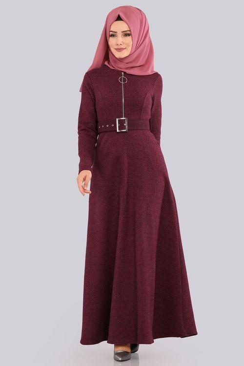 Modaselvim 49 Tl Fermuarli Kislik Elbise 5395mp186 S Bordo Fashion Hijab