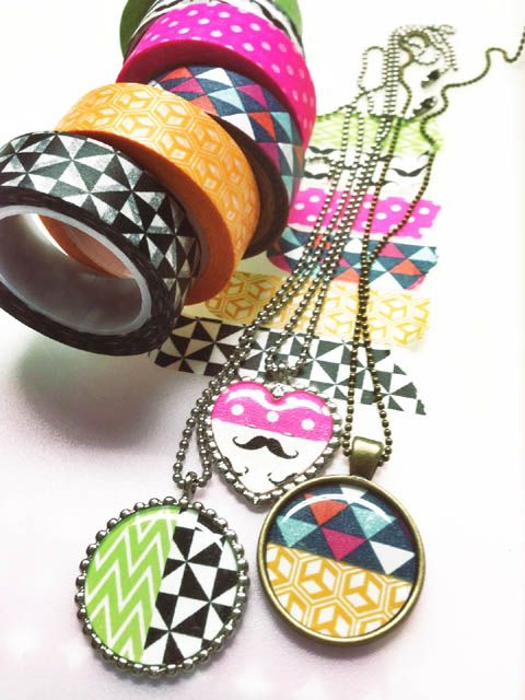 DIY - Washi tape jewelry. With Epiphany Crafts tool. Parlverkstan.se: