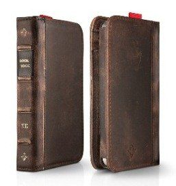 Leather book cover for iPhone: Bookcase, Iphone4, Vintage Book, Leather Book