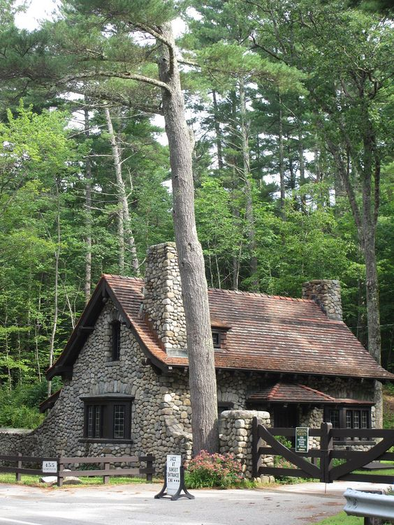 Gatehouse to Lucknow and trees, Moultonborough, New Hampshire