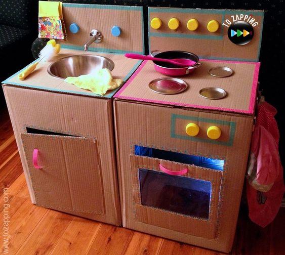 C mo hacer una cocina con cajas de cart n juego de cocina - Papel para forrar muebles de cocina ...
