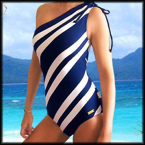Dkny Diagonal Striped Swimsuit One Piece Shoulder Bathing Suit Swimwear 10 L E Bathing Diagonal Dkny Piece Shou Striped Swimsuit Swimsuits Swimwear