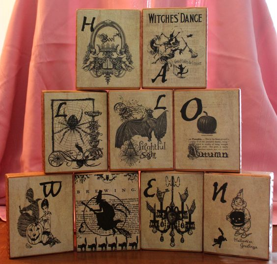 Skeleton Halloween Blocks made with mod podge & 2 x 6's. saw it on pinterest and had to make one of my own (http://coleenscorner.blogspot.com/2010/09/halloween-blocks.html) I got the pics from a great etsy shop.