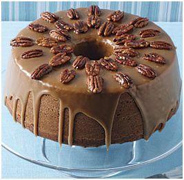 Pumpkin-Pecan Cake with Brown Sugar and Bourbon Glaze