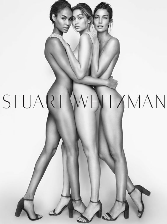 Joan Smalls, Gigi Hadid and Lily Aldridge pose nude in Stuart Weitzman's spring 2016 campaign