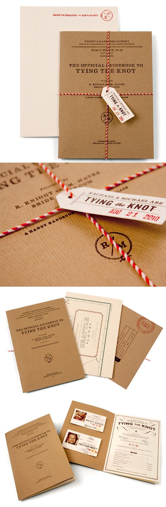 flight manual used as invite..cute attention to details: tag, baker's twine, simple typography