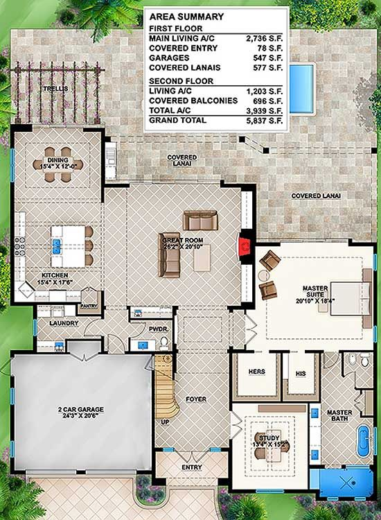 Plan 86011bs Florida House Plan With Big Upper Balconies Florida House Plans House Plans Model House Plan