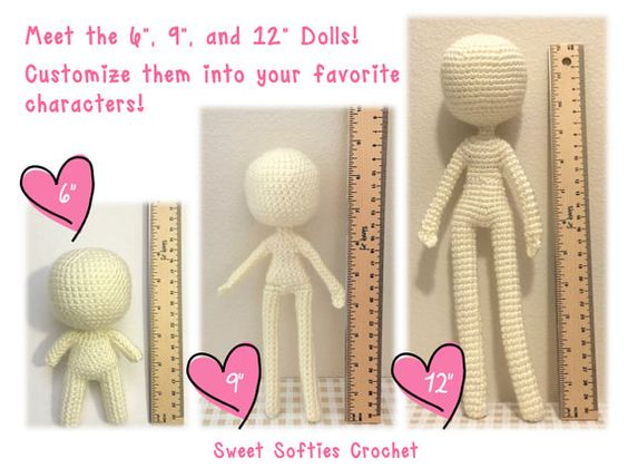 "Amigurumi Crochet Human Body Base Patterns - 6"" Chibi, 9"" and 12"" Slender Dolls (3-in-1 pattern pack, save 3 USD!)"