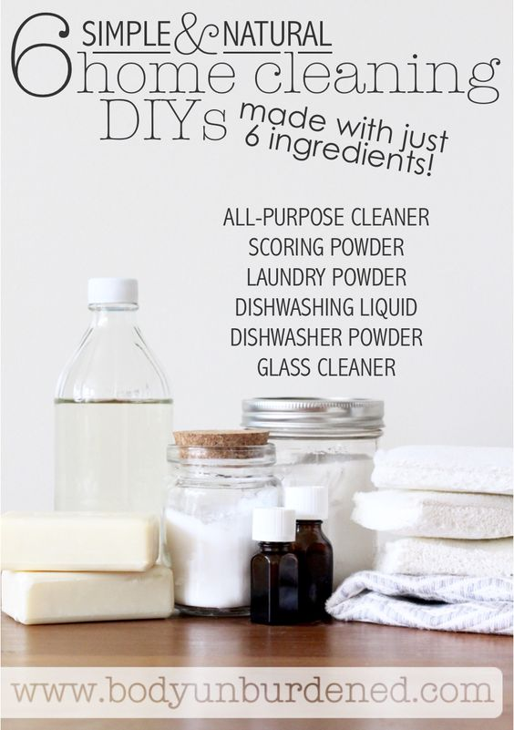 Making your own homemade all-natural cleaning products count NOT be any easier... all you need are these 6 simple ingredients and you're good to go! DIY All-Purpose Cleaner, DIY Scoring Powder, DIY Laundry Powder, DIY Dishwashing Liquid, DIY Dishwasher Powder, DIY Glass Cleaner
