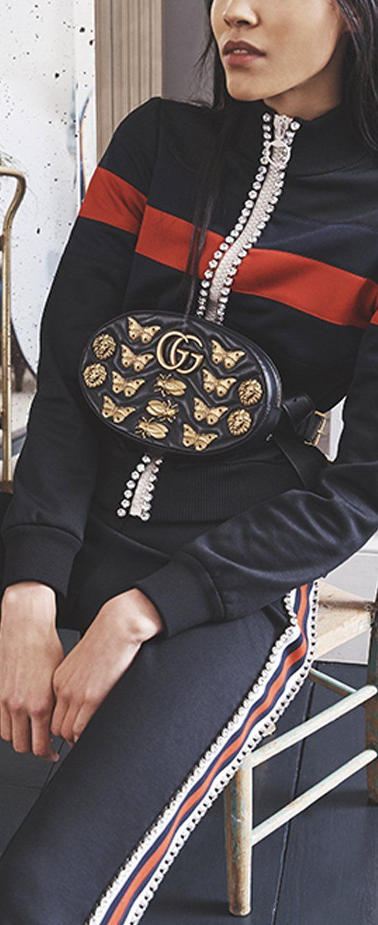 In 2018, our tracksuits are crystal,embellished Gucci. Get