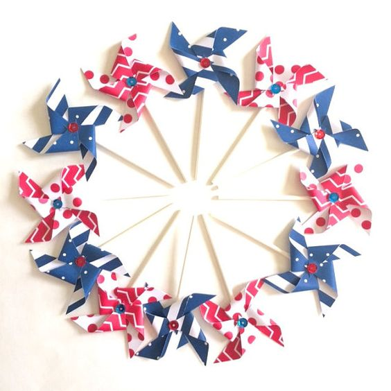 Set of Red White and Blue Decorative PInwheels