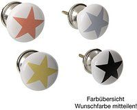 6er Set Möbelknöpfe Stern aus Porzellan + Herz Foto Schlüsselanhänger