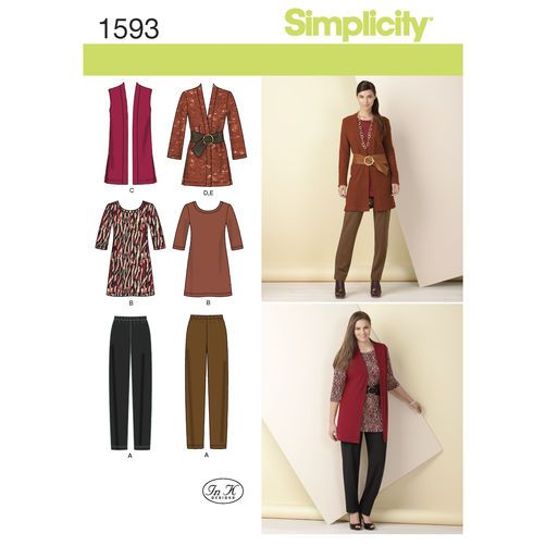 Simplicity Pattern 1593 Misses' and Plus Size Knit Separates: