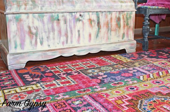 colorful rug inspired the waterfall chest revamp. multiple colors of cece caldwell's paints layered