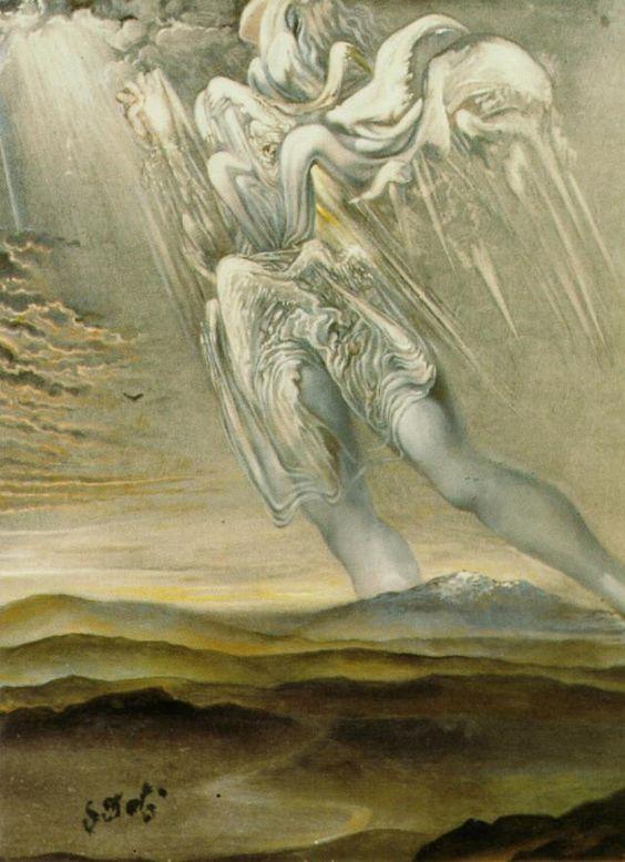 Salvador Dali >> Untitled (Angel surréaliste), circa 1969  |  (huile, reproduction, copie, tableau, oeuvre, peinture).