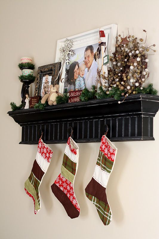 """Love hanging stockings on a holiday """"shelf""""!!!"""