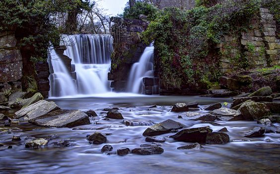 Penllergaer Waterfall by Geoff Mock, via Flickr