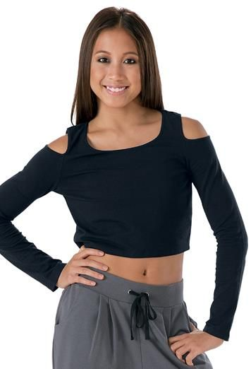 Open Shoulder Long-Sleeve Crop Top | Urban Groove® - Child and Adult sizes Dancewear Solutions $16.95 - $18.95